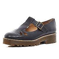 Black cut out cleated sole shoes
