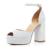 Light grey peep toe block heel sandals