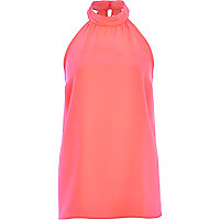 Pink high neck sleeveless top