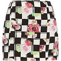 White Chelsea Girl floral check mini skirt