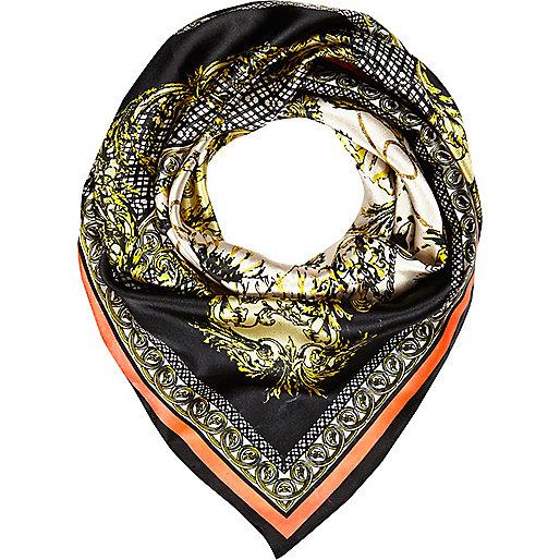 Black floral chain print scarf