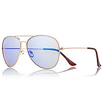 Gold tone blue mirrored aviator sunglasses