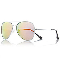 Silver tone mirrored aviator sunglasses