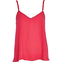 Bright pink V neck cami top