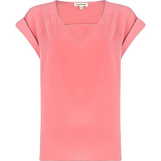 Pink V neck woven t-shirt