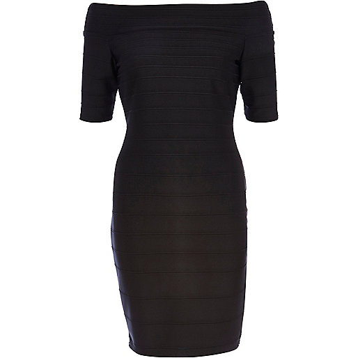 Black bardot bandage dress