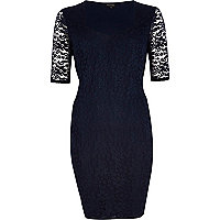 Navy half sleeve lace bodycon dress