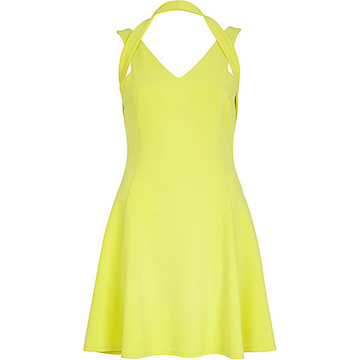 Yellow strappy skater dress