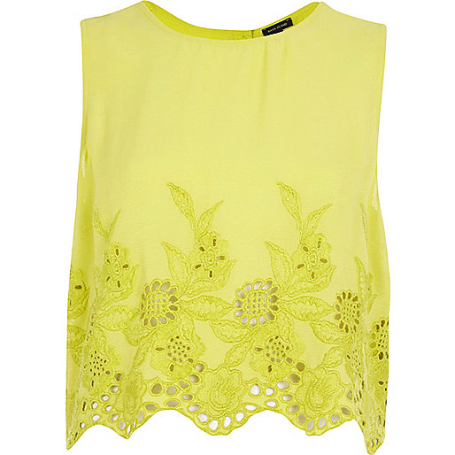 Lime floral embroidered crop tank top