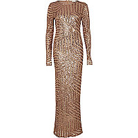 Bronze embellished long sleeve maxi dress