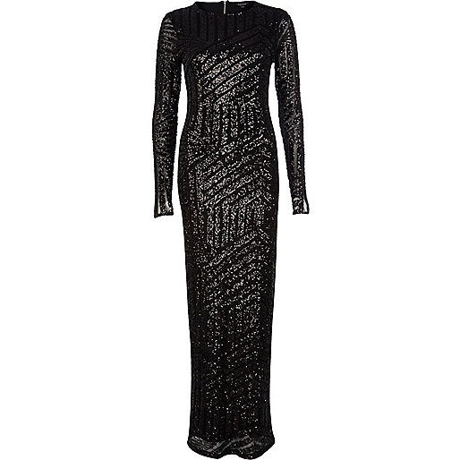 Black embellished long sleeve maxi dress