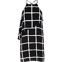 Black check asymmetric layered cami dress