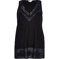Black lace trim V neck vest