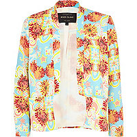Blue floral inverted collar blazer