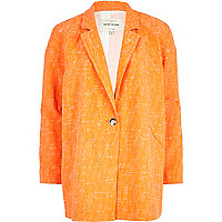 Orange boucle oversized jacket