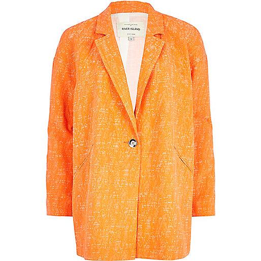 Orange boucle oversized jacket