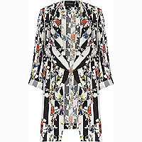 Black striped floral print waterfall jacket