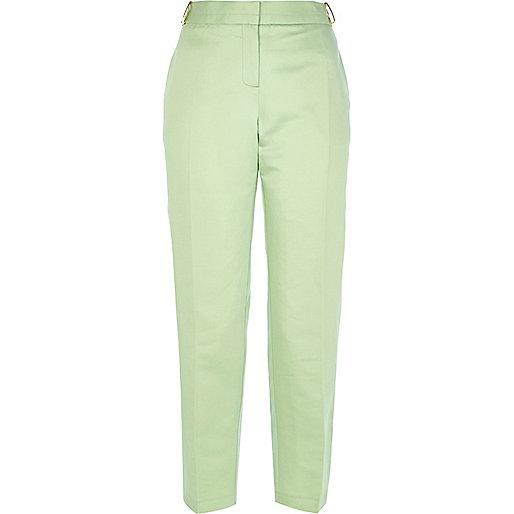 light green slim leg trousers