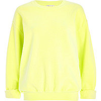 Pale lime brushed oversized sweatshirt