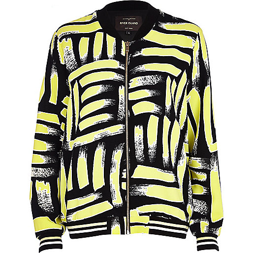 Yellow art print bomber jacket