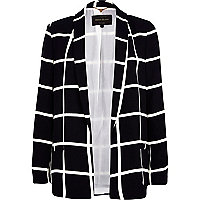 Black and white check relaxed jacket