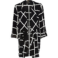 Black and white check waterfall jacket