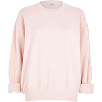 Light pink brushed oversized sweatshirt