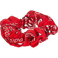 Red bandana print scrunchie