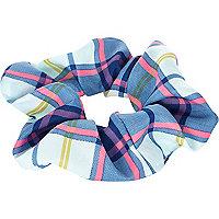 Blue tartan scrunchie