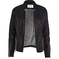 Black leather-look zip trim blazer