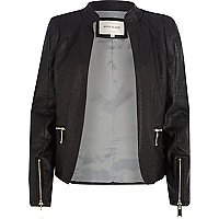 Black leather-look buckle trim blazer