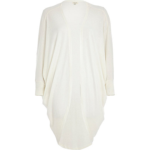 White neppy draped longline cardigan
