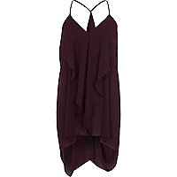 Dark purple longline draped cami top