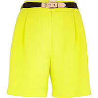 Bright yellow long smart shorts