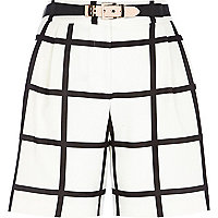 Black and white check long smart shorts