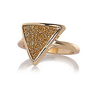 Gold tone glitter triangle ring