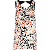 Pink blurred print longline cut out vest