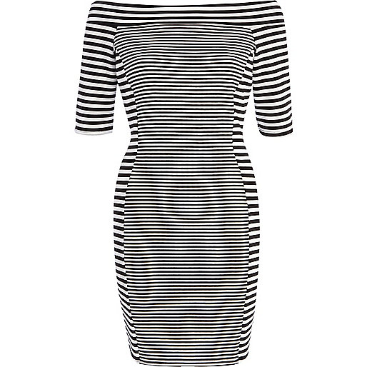 Black mixed stripe bardot bodycon dress