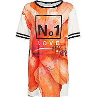 White No.1 love flower print t-shirt dress