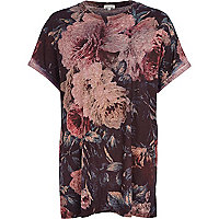 Red floral burnout t-shirt