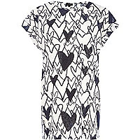 White heart print oversized t-shirt