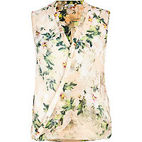 Light pink floral sleeveless wrap shirt