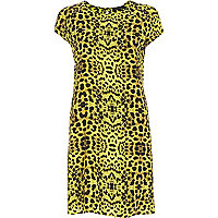 Lime leopard print swing dress