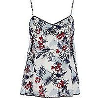 Light blue floral print embroidered cami top