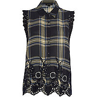 Navy check embroidered sleeveless shirt