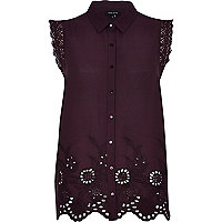 Purple embroidered sleeveless shirt