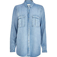 Light wash lightweight denim shirt