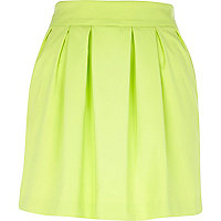 Lime green structured mini skirt