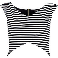 Black and white stripe wrap crop top