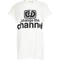 White change the channel oversized t-shirt